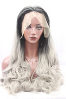 Wholesale Cheap Synthetic Two Tone Wigs - New Design Sexy Ombre Hair Synthetic Lace Front Wig Body Wave Color Black To Green Two-Tone Cheap Wavy Lace Wigs For Black Women