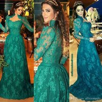 Wholesale Long Dress Import - High Quality Emerald Green High Neck Long Sleeves Evening Dresses 2017 Vestidos De Noiva Lace Prom Dresses Sweep Train Imported Party Gowns