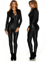 Wholesale Leather Jumpsuit Wholesale - Wholesale- Sexy Jumpsuit For Women Vinyl Leather Jumpsuit 2015 Hot Sale New Black Sliver Gold Sexy Leather Bodysuit W207980