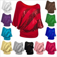 Wholesale Sequins Collar Blouse - Shirts Sequins Summer T Shirts Women Bat Sleeve Tops Fashion Loose Blouse Casual Sexy Blusas Round Collar Sequin Tees Women's Clothing B2753