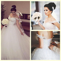 Wholesale Gorgeous Ball Gown Lace Tulle - 2017 Gorgeous Crystals Sparkly Ball Gown Appliques Wedding Dresses Formal Off the Shoulder Sequins Beading Lace-up Back Bridal Gowns