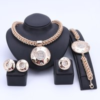 Wholesale Costume Big Necklace Sets - Luxury Big Dubai Gold Plated Crystal Jewelry Sets Fashion Nigerian Wedding African Beads Costume Necklace Bangle Earring Ring