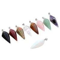 Wholesale Pendulums For Dowsing - Wholesale- 2015 hot sell Fashion and cute Pendulum Healing Dowsing Reiki Chakra Crystal Pendant For Chain Necklace 56IW