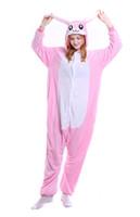 Wholesale Rabbit Onesie Adult - White Pink Rabbit Onesie Pajamas Adult Teen Cute Cosplay Costumes Footed Pyjamas Onepiece For Women Cheap Fleece Pajamas For Juniors