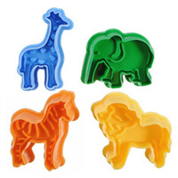 Wholesale Animal Baking Cutters - Cutting Die Cake Mould Stereo Spring Push Cartoon Lion Giraffe Zebra Elephant Animal Biscuit Cookie Baking Cutters 3 2ty F