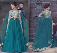 Wholesale Bollywood Dresses - 2017 New Fashion Style Hunter Green Moroccan Kaftan Arabic Chiffon Evening Dresses Prom Gown Bollywood Maxi Indian Lace Appliques Beaded