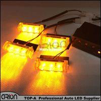 Wholesale car grill led strobe light - Car Truck LED Bright Flashing Blink Grill Lamp Strobe Lights Amber Yellow Free shipping 4*3 LED