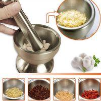 Wholesale Pepper Bowl - Double Stainless Steel Garlic Press Grinder Mortar Salt Pestle Pedestal Bowl Pot for Pepper Chillies Dried Foods Herb Mills