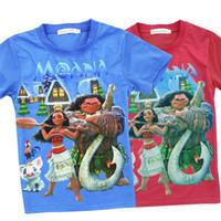 Wholesale School T Shirts Wholesale - Kids Moana printed T shirt boys girls short sleeve cartoon T shirt moana and maui printed clothing for 3-8T back to school gifts