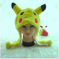 Wholesale Ear Muffs Wholesale - Poke mon Go Pikachu hats Cartoon Plush Toys Beanie Animal Christmas Present Plush Winter Children or Adult Winter Cap
