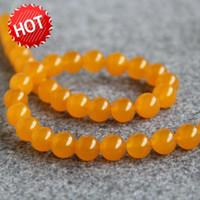 gelbe jaspis halskette großhandel-Neue HalsketteArmband Zubehör 10mm Natürliche Gelbe Türkei Kristall Jasper Perlen Jade Runde Steine Lose Perlen 15 Zoll Schmuck