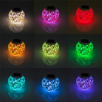 Mini Solar Powered Mosaic Glass Ball LED Garden Lights, RGB Lâmpadas de mesa solar Waterproof Solar Outdoor Lights for Christmas table lam