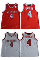 Wholesale Free Style Men - #4 Dennis Smith JR. NC State Wolfpack Red White Color Jersey 2017 New Style High Guality Stitched All Name Number Jerseys Free Shipping