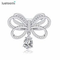 Wholesale Accesories For Women - Vintage CZ Bowknot Brooches for Women Bijoux Jewelry Fashion Bridal Dress Pins Wedding Party Accesories New Arrival LUOTEEMI