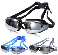 Wholesale Electroplated Goggles - Drop Shipping New Adjustable Professional Anti-fog UV Protection Swimming Goggles Electroplate Waterproof Surfing Swim Glasses Adult Eyewear
