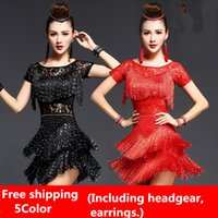 Wholesale Tango Dresses Competition - 5Color 2017 New Latin dance dresses women's sexy lace sequins tassels rumba Sasa tango samba costume competition Latin practice