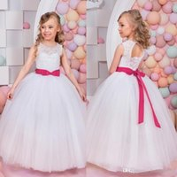 Wholesale Cheap Vests Color Fur - Cheap Lace Flower Girl Dresses For Weddings With Ribbon Bow Jewel Girls Casual Wears For Parties Floor Length Communion Gowns