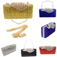 Wholesale Silver Prom Clutches - Luxury Rhinestone Peacock Evening Bags Crystal Women Fashion Clutch Shoulder Bags Diamond Purse Wedding Prom Party Hand Bags