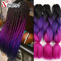 Wholesale Expressions Hair - cheapest 24''100g Kanekalon Expression Braiding Hair Synthetic Crochet Box Braids Hair Jumbo crochet braiding Hair Extension