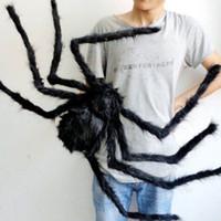 cadılar bayram dekorasyonları açık havada toptan satış-Cadılar bayramı Dekorasyon Siyah Örümcek Örümcek Cadılar Bayramı Dekorasyon Perili Ev Prop Kapalı Açık Siyah Dev 3 Boyutu