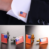 Wholesale Gold Star Cufflinks - U7 Fashion the Stars and the Stripes Cufflinks Gold Plated Platinum Plated Classic Men Suit Button Wedding Business Accessories Perfect Gift