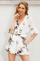 Wholesale Chiffon Printed Skirt Pants - Summer sexy deep V white printed Siamese pants skirt white jumpsuits rompers womens wholesale clothing woman jumpsuit trousers2102#