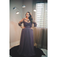 Wholesale Gowns For Fat Sleeves - 2017 Plus Size Evening Gowns Dresses With Sleeves A-line Tulle Appliques Lace Sheer Big Gight Prom Dress For Fat Women