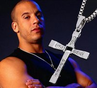 Wholesale Titanium Fast Furious Steel Necklace - Free Shipping - FAST and FURIOUS Dominic Toretto's Cross Pendant Necklace Vin -Titanium Steel