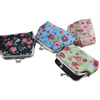 Wholesale- Brand New Small Rose Print Floral Bomboniera Buckle Portefeuille Sac Cute Purse Keys Pouch Money Coin Purse Gift 4 Couleurs