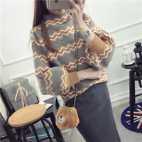 Wholesale Acrylic Tunic Sweaters - Wholesale- 2016 Autumn Winter Sweater Women Pullovers Stretchy Lantern Long Sleeves O neck Pattern Knitted Shirt Tunic