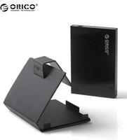 siyah sabit disk muhafazası toptan satış-Toptan-ORICO 25AU3 Aracı Ücretsiz Alüminyum USB 3.0 2.5-inç SATA Harici Sabit Disk HDD Muhafaza / Kılıf ile Özel Kol-Siyah