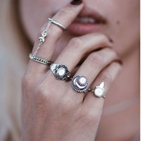 Wholesale Antique Vintage Wedding Bands - Vintage Stack Rings Antique Silver Gold Engraved 5pcs Geometric Chain Ring Manmade Gemstone Decorated Joint Knuckle Nail Midi Ring Set