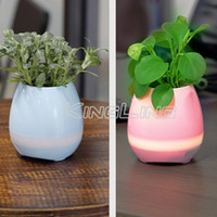 Wholesale Smart Home Audio Wholesale - Creatives Touch Wireless Bluetooth Flowerpot Mini Subwoofer Speaker with LED Multiple Colors Home Smart Plant Office Mp3 Music Player Pot