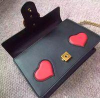 Wholesale Heart Shaped Red Handbag - Heart Shape Decorate Marmont Handbag, Famous Designer Brand Genuine Leather Shoulder Bag With Vintage Gold Hardware Top Quality Cowhide G338