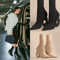 Wholesale Ladies Fashion Rubber Boots - 2017 autumn knitting ankle boots Summer Ladies Fashion High Heels Woman sexy Short stretch boots special-shaped heels socks boots