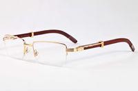 Wholesale White Round Plastic Glasses Frames - 2017 retro semi rimless wood frame Luxury Sunglasses Men Women Brand Designer buffalo horn glasses Vintage Sunglass Oculos box