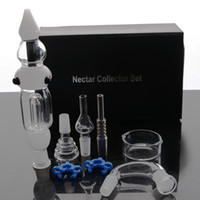 Wholesale Smoke Pipe Gift Set - Nectar Collector Set smoking pipe with Updated Honey Straw Unit Glass Dish Titanium Nail water pipe
