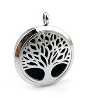 Wholesale Free Christmas Trees - Free Shipping With Chain Round Silver Tree Design (30mm) Essential Oils Perfume Locket Stainless Steel Aroma Diffuser Locket