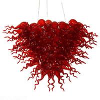 weihnachtslichtquelle großhandel-Neues Jahr Weihnachten Home Dekorative Beleuchtung LED Lichtquelle Zeitgenössische Chihuly Red Glass Kronleuchter Lichter