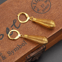 Wholesale 14k Gold Pierced Earrings - 14k Yellow Fine Gold Filled Pierced Earring Graded spring form Long New Gift Boxed Bigwigs Jewelry