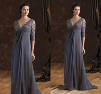 Wholesale Dresse Bride - Gray Lace Mother Of The Bride Dresses Sexy Deep V Neck Chiffon Empire Waist Backless Formal Evening Occasion Dresse Long Wedding Party Gowns