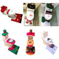 banheiros antigos venda por atacado-Tampa de sanita de Natal, velho, branco, verde, novo azul, boneco de neve, veado, fada, três peças / duas peças, boneco de neve azul, além de almofada de pé, água t