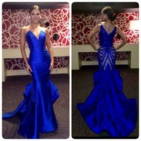 Wholesale Dresses Miss Universe - Miss Universe 2017 Evening Dresses Mermaid Blue Illusion Back Beaded Sequins Ruffles Satin Sleeveless Women Pageant Gowns Formal Prom Dress