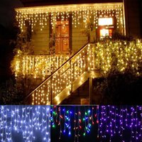 Wholesale Xmas Icicles Lights - christmas outdoor decoration 3.5m Droop 0.3-0.5m curtain icicle string led lights 220V 110V New year Garden Xmas Wedding Party