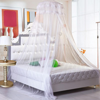 Wholesale Crib Mosquito Canopy - Mosquito Net for Bed,Stroller,Crib,Netting Bed Canopy & Drapes,Round Bed Curtain with Lace Dome,Full Hanging Kit,Insect Protection Repellent