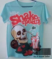 Wholesale Milk Shakes - Wholesale- Vintage Retro Rock&Roll Punk T-shirt Top Tee Blue Skeleton Milk Shake Speare Strawberry Cup Shakespeare Drink 0014