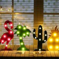 iluminación de coco al por mayor-Luz de la noche creativo cactus de piña flamingo árbol de coco lámpara de noche iluminación que emite fiesta de juguete fiesta decoración del hogar 8aq F R