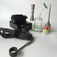ferramenta de óleo de reciclagem de unha de titânio venda por atacado-prego elétrico kit E digital prego bobina PID Dab rig com reciclador de vidro bong tubulação de água Oil Rigs titânio prego silicone jar