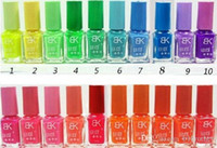 Wholesale Designer Nail Polish - Wholesale-40 Bottles Candies Color Fluorescent Luminous Neon Glow In Dark Varnish BK Nail Art Polish designer