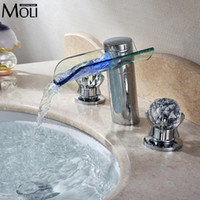 Wholesale Glass Led Tap - Wholesale- Led waterfall faucet glass water tap crystal bathroom faucet handle